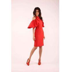 Nommo Czerwona dopasowana sukienka wiązana na karku z falbankami