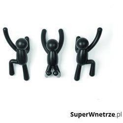 Zestaw 3 wieszaków ściennych 7,5x16,8x7,6cm buddy czarny marki Umbra