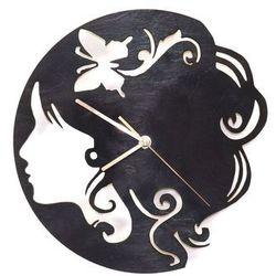 Drewniany zegar na ścianę Twarz kobiety ze złotymi wskazówkami