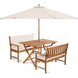 Fieldmann meble ogrodowe emily 4l2 + poduszki + parasol, kremowe
