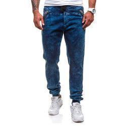 Comeor Granatowe spodnie jeansowe joggery męskie Denley 4450 - GRANATOWY, niebieska