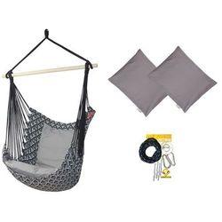 Fotel hamakowy z poduszkami i zestawem montażowym, Szary Etno + HP-111 + koala/fix/ch1