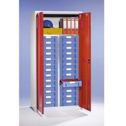 Eurokraft Szafa na materiały i szafa z szufladami, 1 półka, 26 szuflad, jasnoszara, ral 70