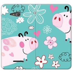 Flex Book Fantastic - Sony Xperia E4g - etui na telefon Flex Book Fantastic - różowe świnki (Futerał telef