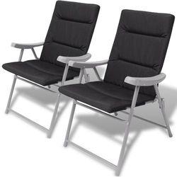 składane krzesła ogrodowe z poduszkami na siedzenia 2 szt. czarne, marki Vidaxl