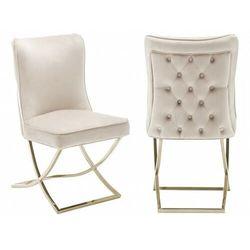 Krzesło tapicerowane y-2009 beż welur / złote nogi marki Meblin