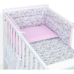 MAMO-TATO 3-el dwustronna pościel dla niemowląt 100x135 Hipcie / aplikacja róż
