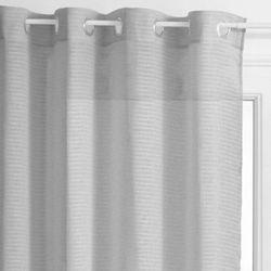 Atmosphera Firana barwy jasnoszarej w subtelne poziome paseczki doskonała do salonu – 240 x 140 cm (3560234528437)