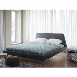 Łóżko szare - tapicerowane - ze stelażem - 160x200 cm - VIENNE (7105271747906)