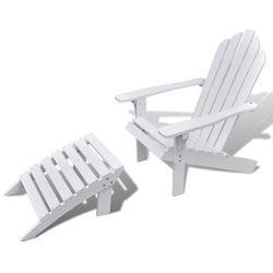 Vidaxl  biały drewniany fotel z podnóżkiem, kategoria: krzesła ogrodowe