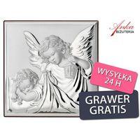 Obrazek srebrny anioł stróż z latarenką prezent dla dziecka grawer gratis marki Valenti & co