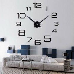 Czarny duży zegar ścienny 3D CYFRY 2, kolor czarny