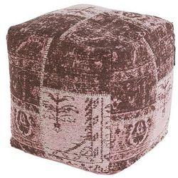 Vintage kwadratowy puf postarzany różowy 45 x 45 x 45cm - Agra