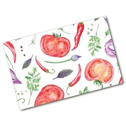 Deska kuchenna duża szklana Pomidor i przyprawy