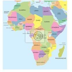 Fototapeta Kolorowa mapa polityczna Afryki, Redro z REDRO