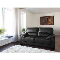 Sofa czarna - dwuosobowa - kanapa - skóra ekologiczna - VOGAR, kolor czarny