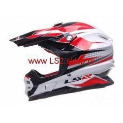 KASK LS2 MX456.48 FACTORY WHITE BLACK RED Enduro Cross (kask motocyklowy)