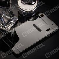 Hurtel Aluminiowe etui lusterko metal mirror bumper lenovo a7000 czarne - czarny