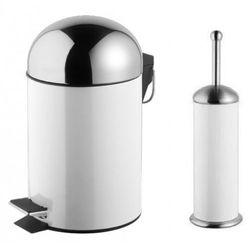 Bisk Zestaw kosz na śmieci grenada biały poj. 3l + szczotka wc grenada biała
