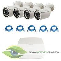 "Zestaw do Monitoringu ""Dahua 1.3MP PoE"". 4 x Kamera IPC-HFW1120S-0360B, Rejestrator PoE DAHUA DHI-NVR2"