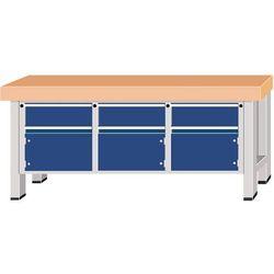 Stół warsztatowy do dużych obciążeń, szer. blatu 2250 mm, z 3 szufladami i 3 drz