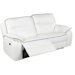 3-osobowa skórzana sofa z elektrycznie regulowaną funkcją relaks CATANE - Biała z szarą lamówką