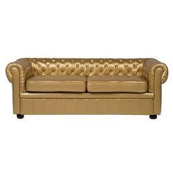 Sofa trzyosobowa skóra ekologiczna złota CHESTERFIELD, kolor żółty