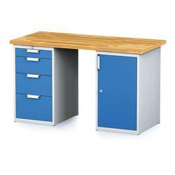 Stół warsztatowy MECHANIC, 1500x700x880 mm, 1x 4 szufladowy kontener, 2x szafka, szary/niebieski