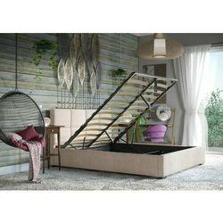 Łóżko 140x200 tapicerowane como + pojemnik welur beżowe marki Big meble