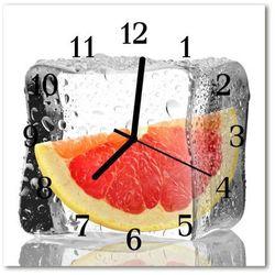 Zegar szklany kwadratowy kostka grejpfrut marki Tulup.pl