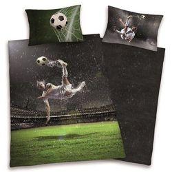 komplet pościeli piłka nożna gol, poszwa 140x200cm, poszewka 70x90cm marki Dekoria