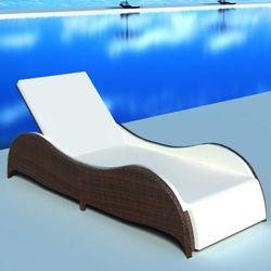 Vidaxl leżak ogrodowy w opływowym kształcie, polirattan, brąz