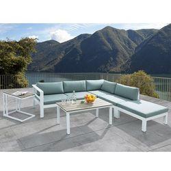 Beliani Meble ogrodowe białe - tarasowe - stół + sofa + podnóżek - messina (7105272847612)