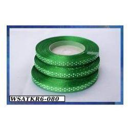 Wstążka satynowa w kropki 6mm/22mb zielona - produkt z kategorii- Pozostałe artykuły szkolne i plastyczne
