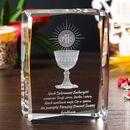 Pamiątka Komunii »hostia i kielich« duży personalizowany kryształ 3D