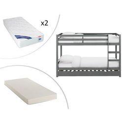 Vente-unique Łóżko piętrowe anicet - 2 × 90 × 200 cm z szufladą do łóżka wysuwanego 90 × 190 - szare lite drewno sosnowe - z materacem