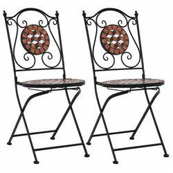 vidaXL Mozaikowe krzesła bistro, 2 szt, brązowe, ceramiczne