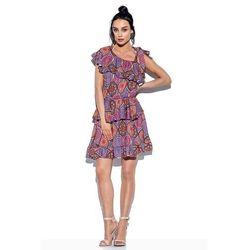 Wzorzysta sukienka wiązana na jedno ramię - druk 20