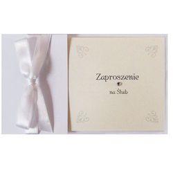 Zaproszenia ślubne z kokardą biały 1op Ślub Wesele