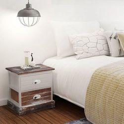 Vidaxl szafka nocna w stylu shabby chic 2 szt, brązowo-biała (8718475971399)