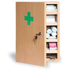 Drewniana apteczka ścienna, 43x30x14 cm, buk, DIN 13169 - sprawdź w wybranym sklepie