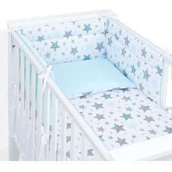 MAMO-TATO 3-el dwustronna pościel dla niemowląt 100x135 Starmix turkus / turkus