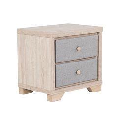 Beliani Szafka nocna jasny odcień drewna z szarym 2 szuflady berck (4251682222822)