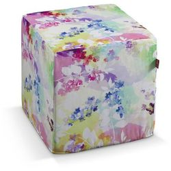 pokrowiec na pufę kostke, różowo-fioletowe kwiaty, kostka 40x40x40 cm, monet marki Dekoria