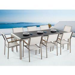 Meble ogrodowe - stół granitowy 220 cm czarny polerowany z 8 białymi krzesłami - GROSSETO, kup u jednego z partnerów