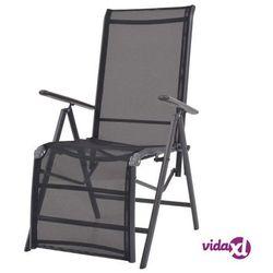 vidaXL Leżak rozkładany, czarny, textilene, 58,5 x 69 x 110 cm