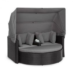 heartland, 2-osobowa sofa wypoczynkowa, ze stolikiem, stołkiem, dachem przeciwsłonecznym, szara marki Blumfeldt