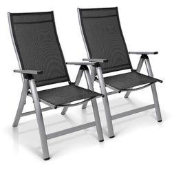 london, fotel ogrodowy, zestaw 2 sztuk, tkanina syntetyczna (textilene), aluminium, 6 pozycji, składany marki Blumfeldt
