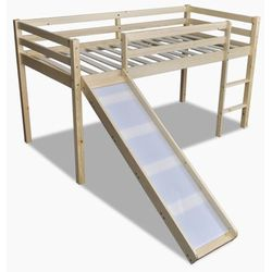 vidaXL Wysokie łóżko dziecięce ze zjeżdżalnią i drabinką, naturalne drewno