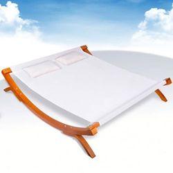 Podwójny leżak, drewno, biały, 200x188x42 cm